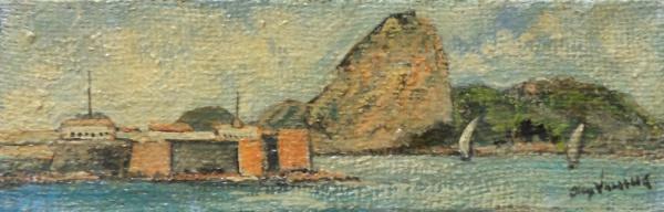 AM001, ARM. VIANNA, óleo sobre tela, representando marinha, medindo 40 x 13 cm. Sem moldura.