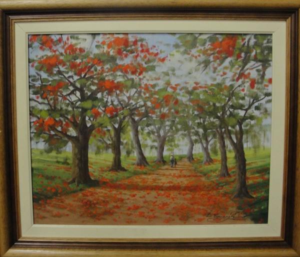 AM002, ASSINATURA ILEGÍVEL, óleo sobre tela, representando paisagem com figuras, medindo 49 x 39 cm.