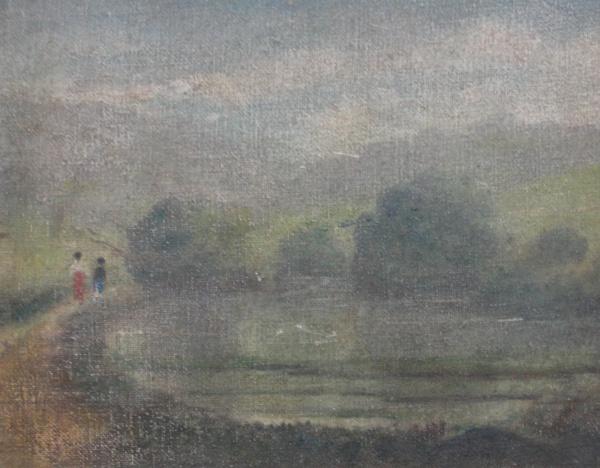 AM002, SEM ASSINATURA, óleo sobre tela colada em placa, representando paisagem com figuras, medindo