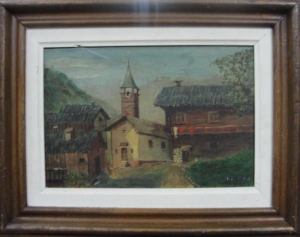 AM002, M. SILVA, óleo sobre tela, representando paisagem, medindo 30 x 20 cm. Moldura no estado.