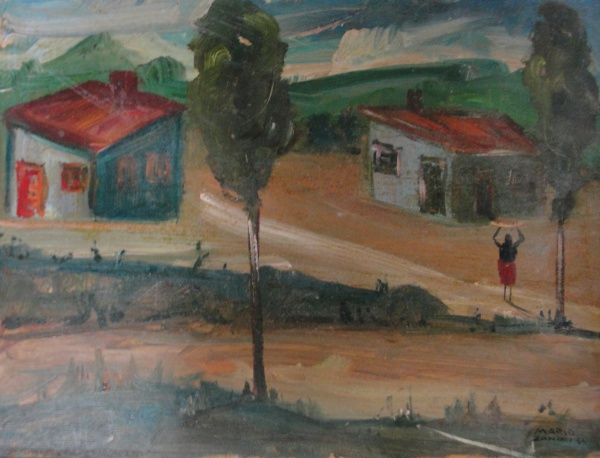 AM002, MARIO ZANINI (ATRIBUÍDO), óleo sobre madeira, representando paisagem com figuras, medindo 39