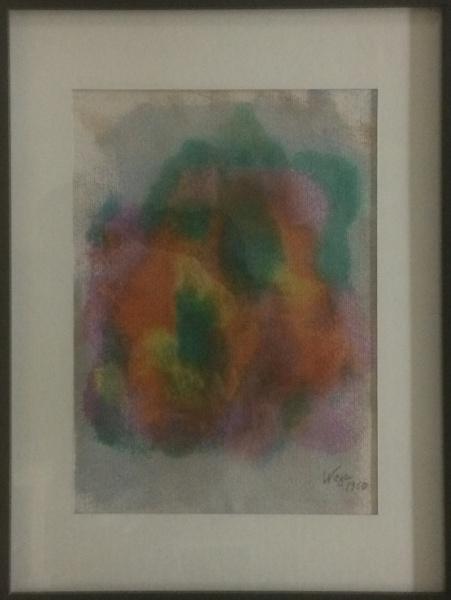AM092, WEGA NERY, pastel sobre cartão, abstrato, medindo 20 x 28 cm.