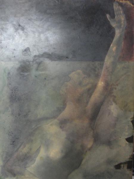 AM015, SEM ASSINATURA, óleo sobre placa, representando nu feminino, medindo 72 x 99 cm. Sem moldura.