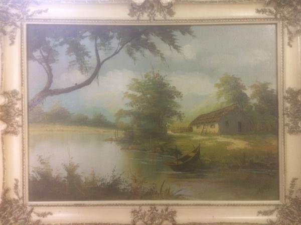 AM033, A. VOLPI, óleo sobre tela, representando paisagem, medindo 70 x 50 cm. Acompanha documentação