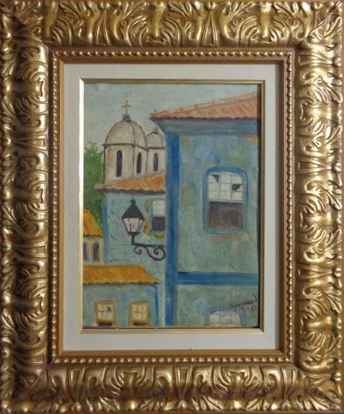 AM033, GUIGNARD, óleo sobre tela colada em cartão, representando casario, medindo 23 x 32 cm.