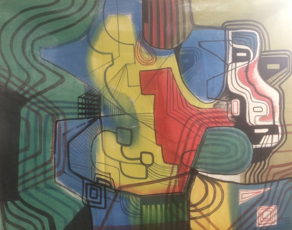 AM003, R. BURLE-MARX, panneau, abstrato, medindo 152 x 116 cm. Sem chassi e sem moldura.
