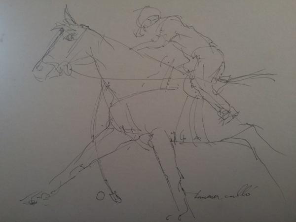 AM009, TAVARES CALLÓ, desenho à nanquim, representando jogador de polo, medindo 35 x 26 cm. Sem mold