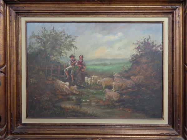 AM010, YPLINSKY, óleo sobre placa, representando paisagem com figuras, medindo 69 x 49 cm.