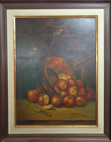 AM010, R. MORANDI, óleo sobre tela, representando natureza morta, medindo 58 x 78 cm.