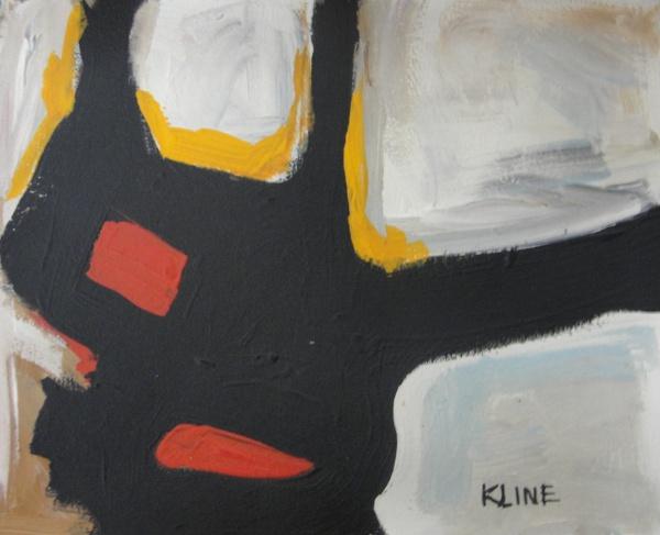 AM016, KLINE, óleo sobre cartão, abstrato, medindo 22 x 18 cm. Sem moldura.