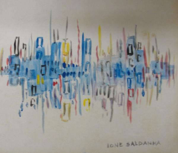 AM016, IONE SALDANHA, aquarela, abstrato, medindo 19 x 17 cm. Sem moldura.
