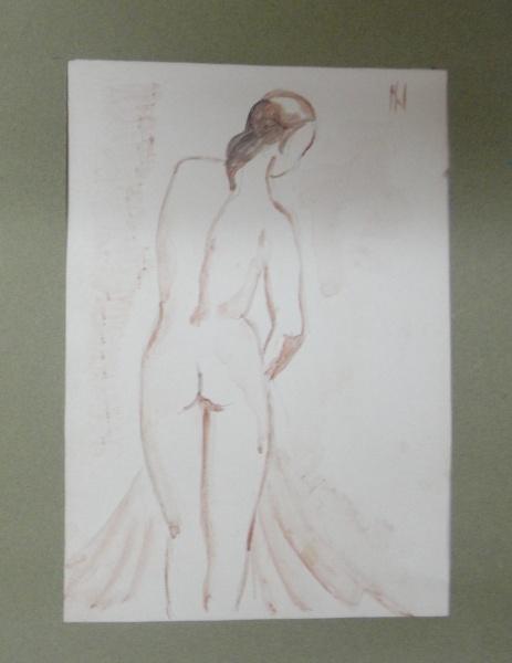 AM016, ISMAEL NERY, aquarela, representando nu feminino, medindo 12 x 18 cm. Sem moldura.