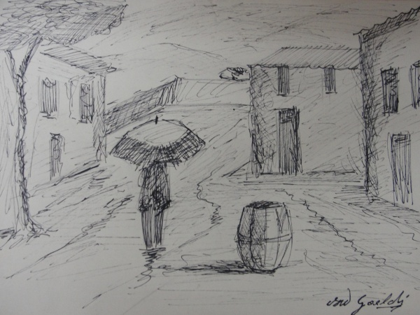 AM016, GOELDI, desenho à nanquim, representando cena urbana, medindo 22 x 16 cm. Sem moldura.