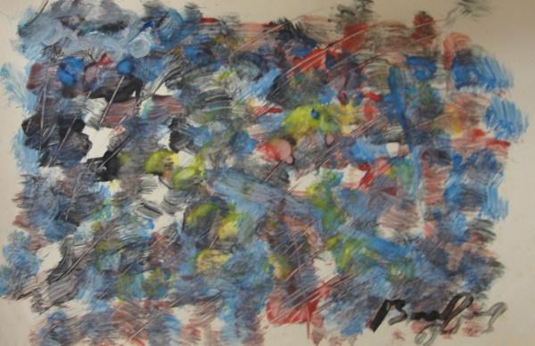 AM016, BANDEIRA, guache sobre papel, abstrato, medindo 21 x 13 cm. Sem moldura.