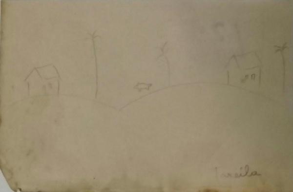 AM019, TARSILA DO AMARAL, desenho à lápis, representando paisagem com figura, medindo 13 x 10 cm. Se