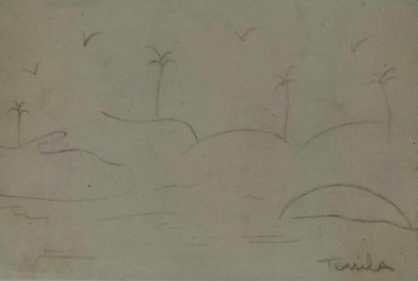 AM019, TARSILA DO AMARAL, desenho à lápis, representando paisagem, medindo 13 x 9 cm. Sem Moldura.