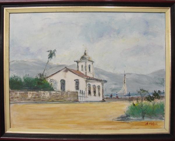 AM025, A. VOLPI, óleo sobre tela, representando paisagem com figuras, medindo 39 x 29 cm.