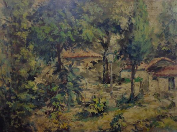 AM028, ASSINATURA ILEGÍVEL, óleo sobre placa, representando paisagem, medindo 37 x 28 cm. Sem moldur