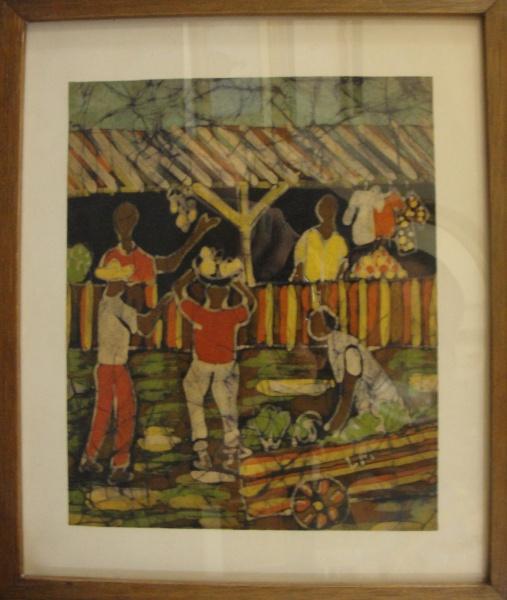 AM039, SEM ASSINATURA, pintura sobre tecido, representando cena urbana, medindo 18 x 23 cm.