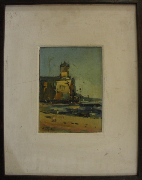AM039, H. CESPEDES, óleo sobre tela, representando marinha com figuras, medindo 15 x 21 cm.