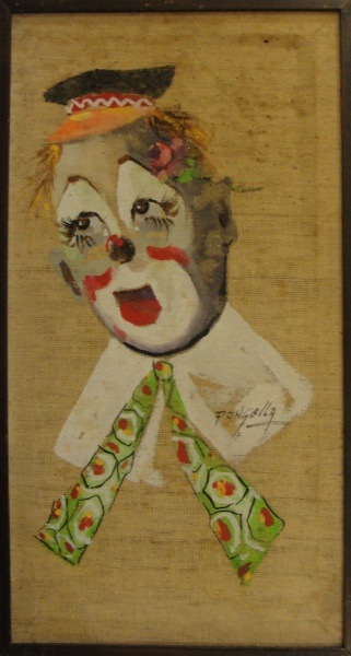 AM039, PANGELLA, óleo sobre tela, representando palhaço, medindo 25 x 48 cm.