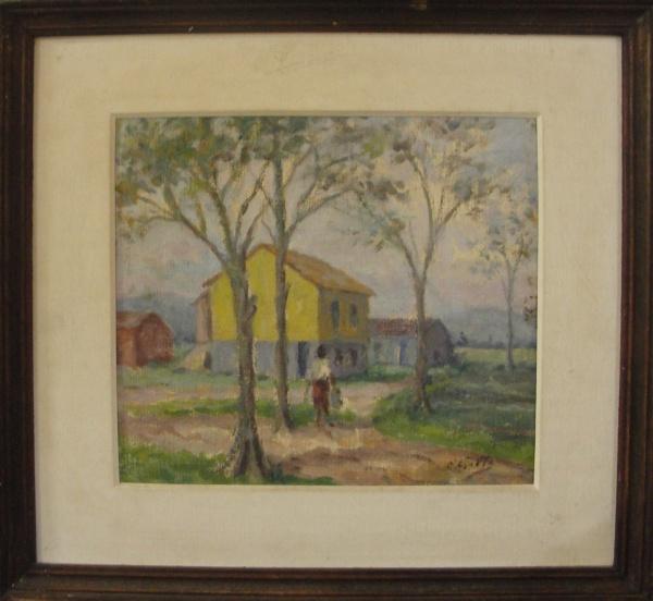 AM039, E. GAETA, óleo sobre tela colada em placa, representando paisagem com figura, medindo 23 x 20