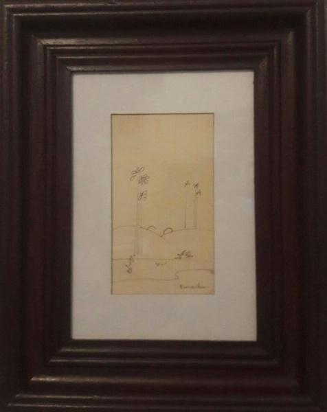 AM057, TARSILA DO AMARAL, desenho à lápis, representando paisagem, medindo 10 x 18 cm.