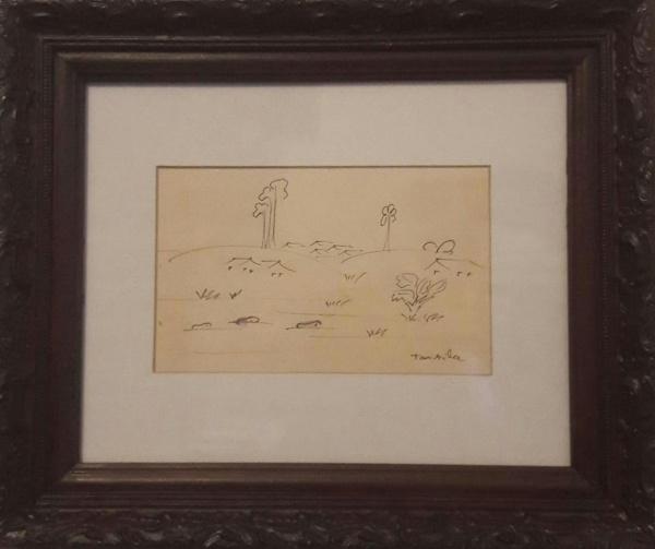 AM057, TARSILA DO AMARAL, desenho à lápis, representando paisagem, medindo 17 x 11 cm.