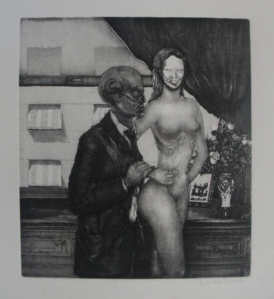 AM064, LUCIAN FREUD, gravura-metal, representando figuras, medindo 50 x 70 cm. Sem moldura.