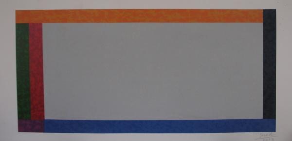 AM064, SUED, gravura, geométrico, medindo 72 x 34 cm. Sem moldura.