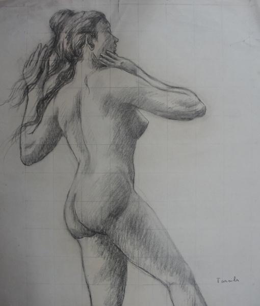 AM064, TARSILA DO AMARAL, desenho a carvão, representando nu feminino, medindo 48 x 50 cm. Sem moldu