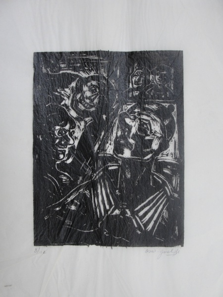 AM064, GOELDI, xilogravura sobre papel-arroz, tiragem 3/12, representando figuras, medindo 22 x 28 c