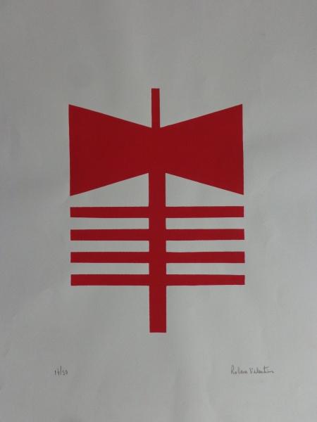 AM064, RUBEM VALENTIM, gravura, tiragem 14/50, emblema, medindo 42 x 58 cm. Sem moldura.