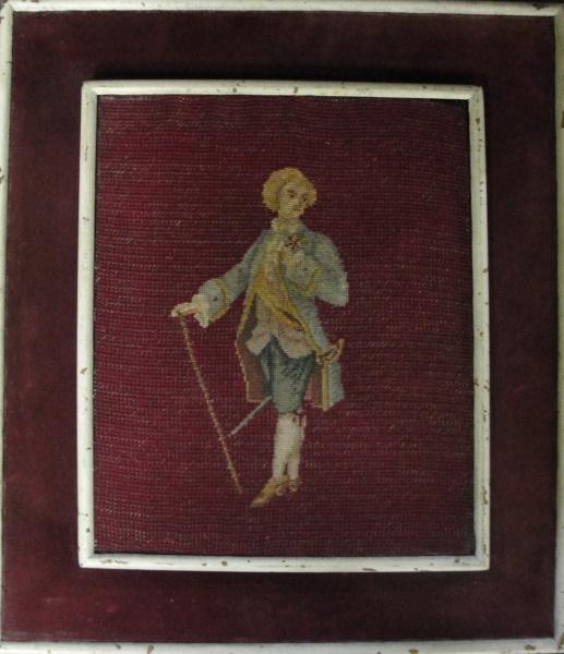 AM071, SEM ASSINATURA, tapeçaria, representando figura, medindo 23 x 28 cm.