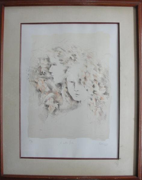 """AM071, ASSINATURA ILEGÍVEL, gravura, tiragem 50/50, """"A outra face"""", medindo 33 x 44 cm."""