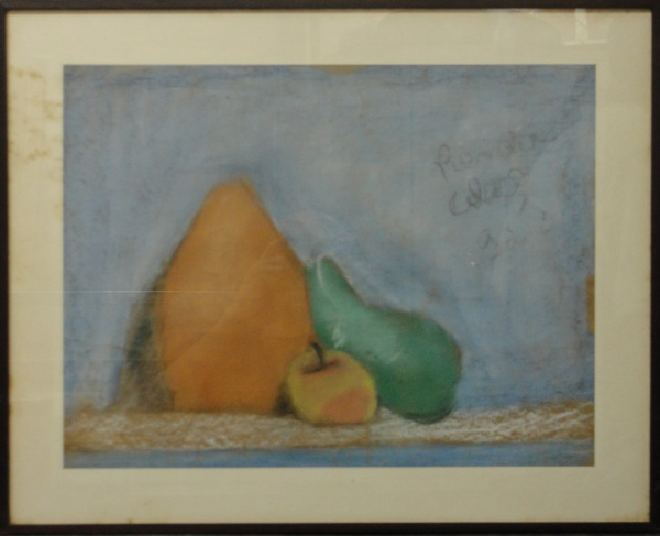 AM071, RENATA COLAÇO, pastel sobre papel, representando natureza morta, medindo 43 x 33 cm.