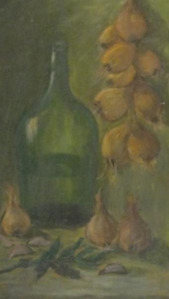 AM071, SEM ASSINATURA, óleo sobre placa, representando composição, medindo 29 x 54 cm. Sem moldura.
