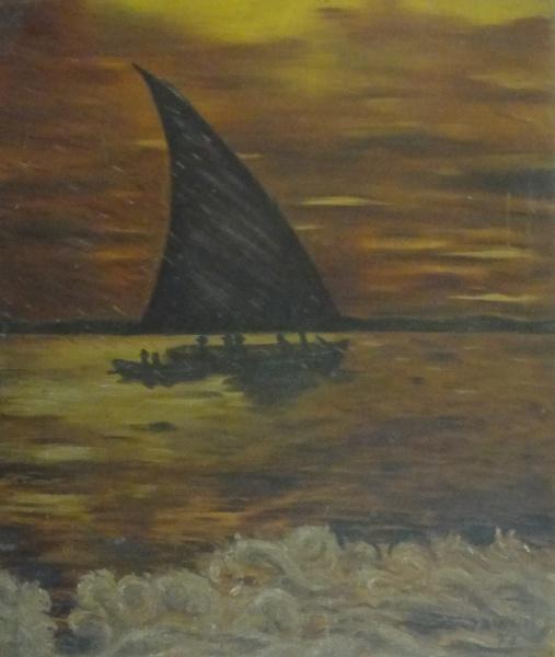 AM071, D. BUAIRIDE, óleo sobre placa, representando marinha com figuras, medindo 40 x 46 cm. Sem mol