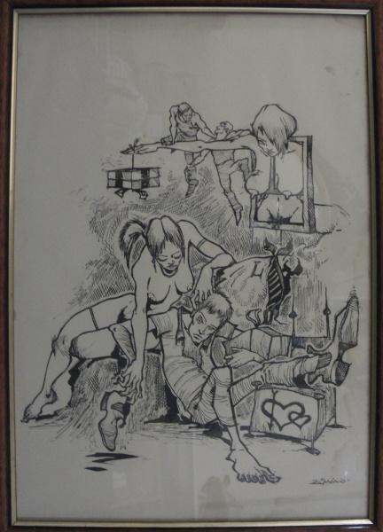 AM071, ZÉ MÁRCIO, nanquim sobre cartão, representando figuras, medindo 29 x 41 cm.