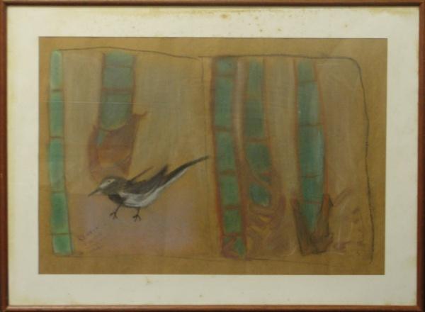 AM071, RENATA COLAÇO, pastel sobre papel, representando paisagem com figuras, medindo 48 x 33 cm.