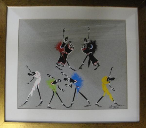 AM071, ABANGUI (ARTE AFRICANA), guache sobre cartão, representando figuras, medindo 28 x 23 cm.