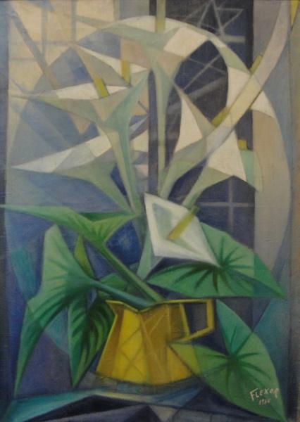 AM088, FLEXOR, óleo sobre tela, representando vaso com flores, medindo 50 x 70 cm. Com moldura.