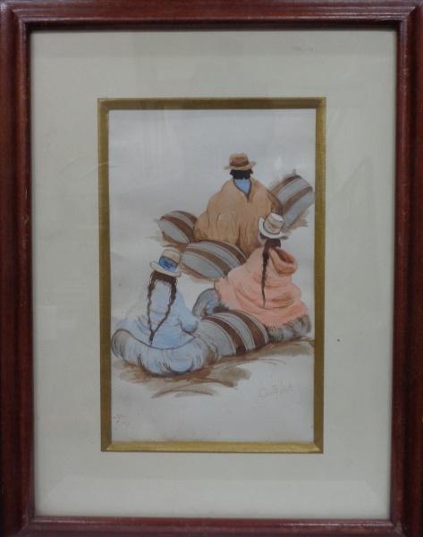 """AM000, CASTILLO, aquarela peruana, """"Cusco"""", medindo 14 x 23 cm."""