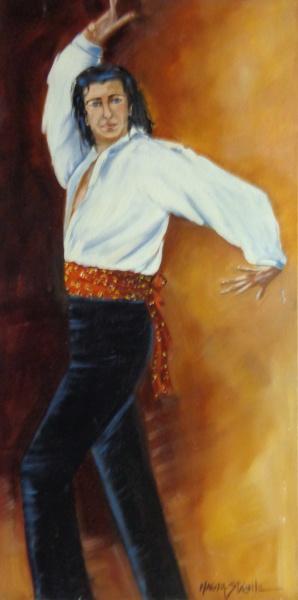 AM000, MAGDA STÁBILE, óleo sobre tela, representando dançarino, medindo 30 x 60 cm. Sem moldura.