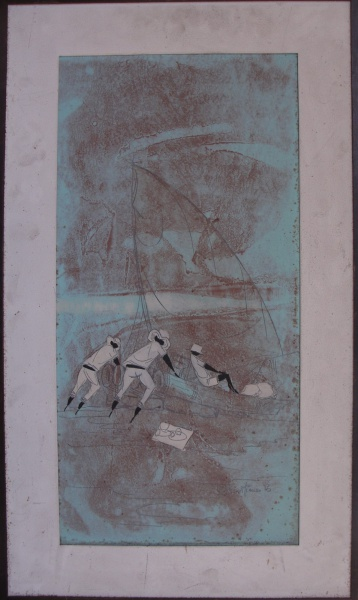 AM000, JOSÉ BRASILIENSE, técnica mista sobre placa, representando pescadores, medindo 29 x 59 cm.