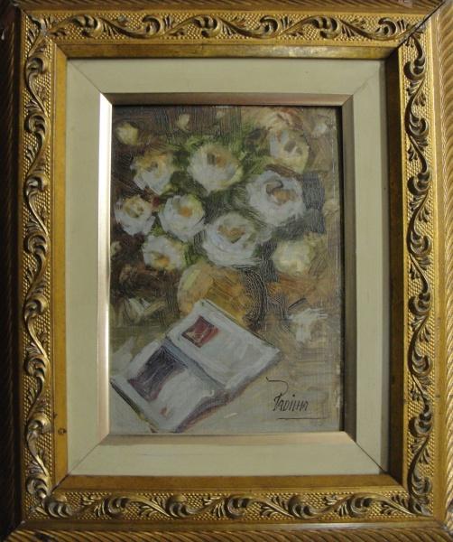 AM000, PADILHA, óleo sobre placa, representando vaso com flores, medindo 16 x 22 cm.