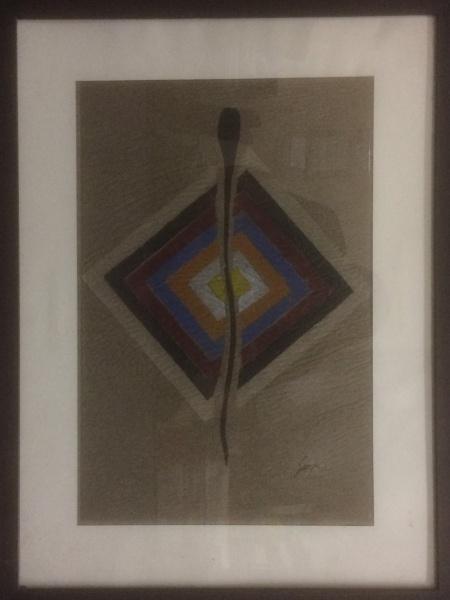 AM000, SERPA, guache sobre papel, abstrato, medindo 26 x 39 cm.
