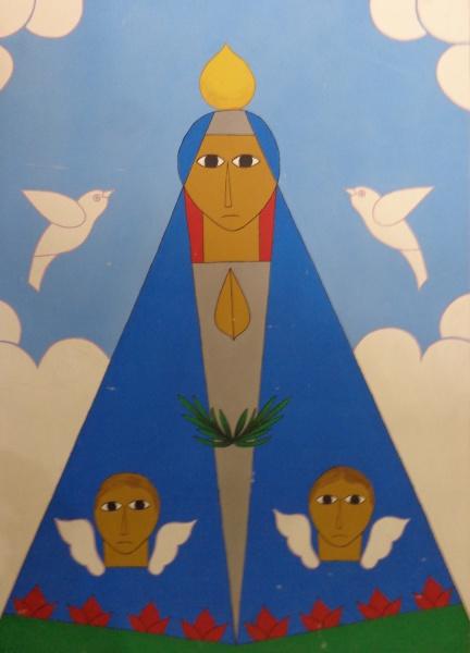 AM000, ANTONIO MAIA, acrílica sobre tela, representando santa, medindo 58 x 80 cm. Sem moldura.