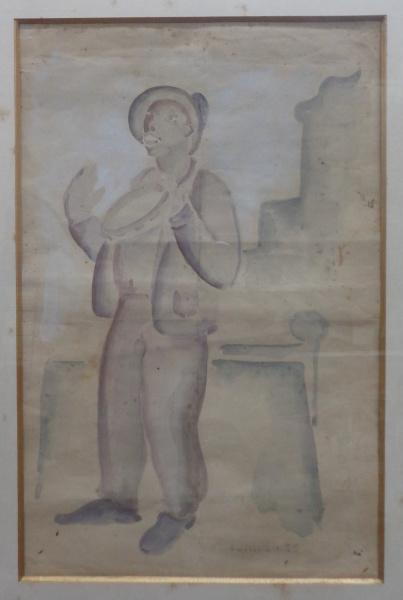 AM000, GOMIDE, aquarela, datada de 1955, representando músico, medindo 20 x 32 cm.