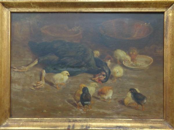 AM000, GUERINO GROSSO, óleo sobre tela, representando cena rural, medindo 54 x 37 cm. Contém restaur